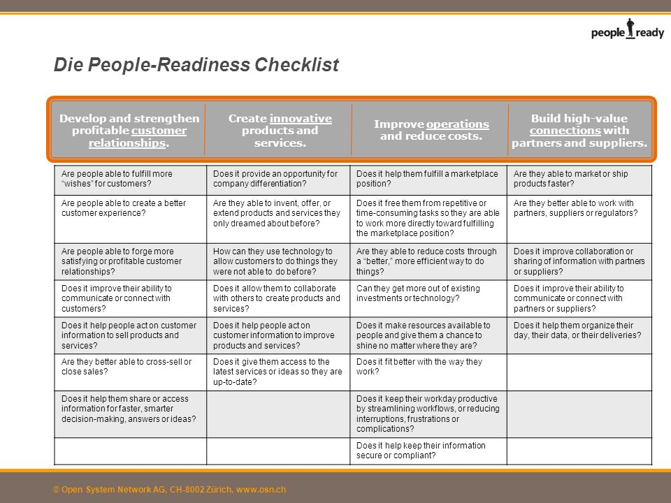 Die People-Readiness Checklist