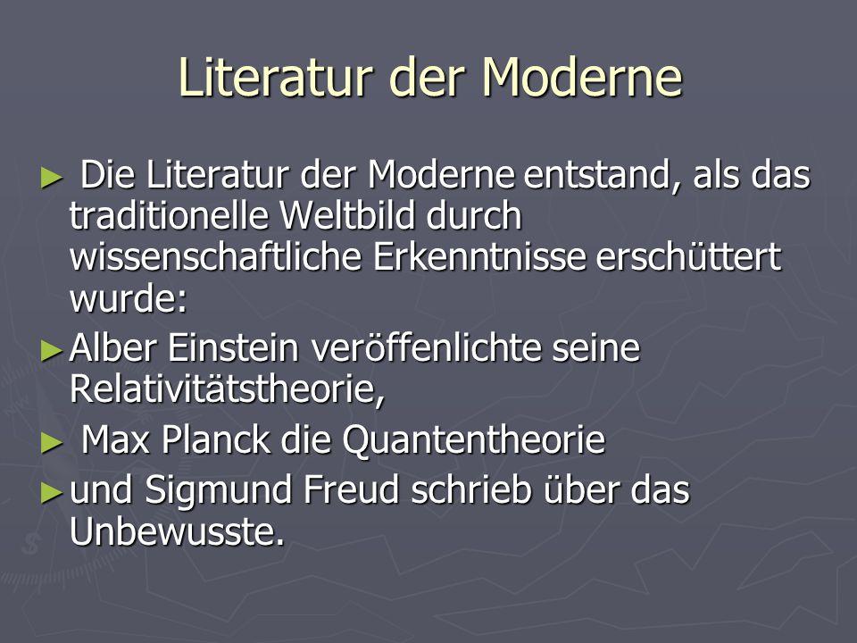 Literatur der Moderne Die Literatur der Moderne entstand, als das traditionelle Weltbild durch wissenschaftliche Erkenntnisse erschüttert wurde: