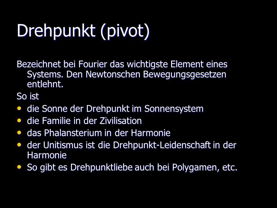 Drehpunkt (pivot) Bezeichnet bei Fourier das wichtigste Element eines Systems. Den Newtonschen Bewegungsgesetzen entlehnt.