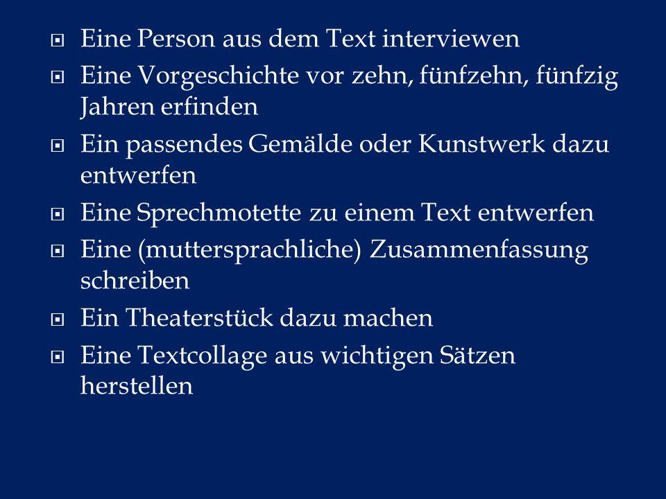 Eine Person aus dem Text interviewen