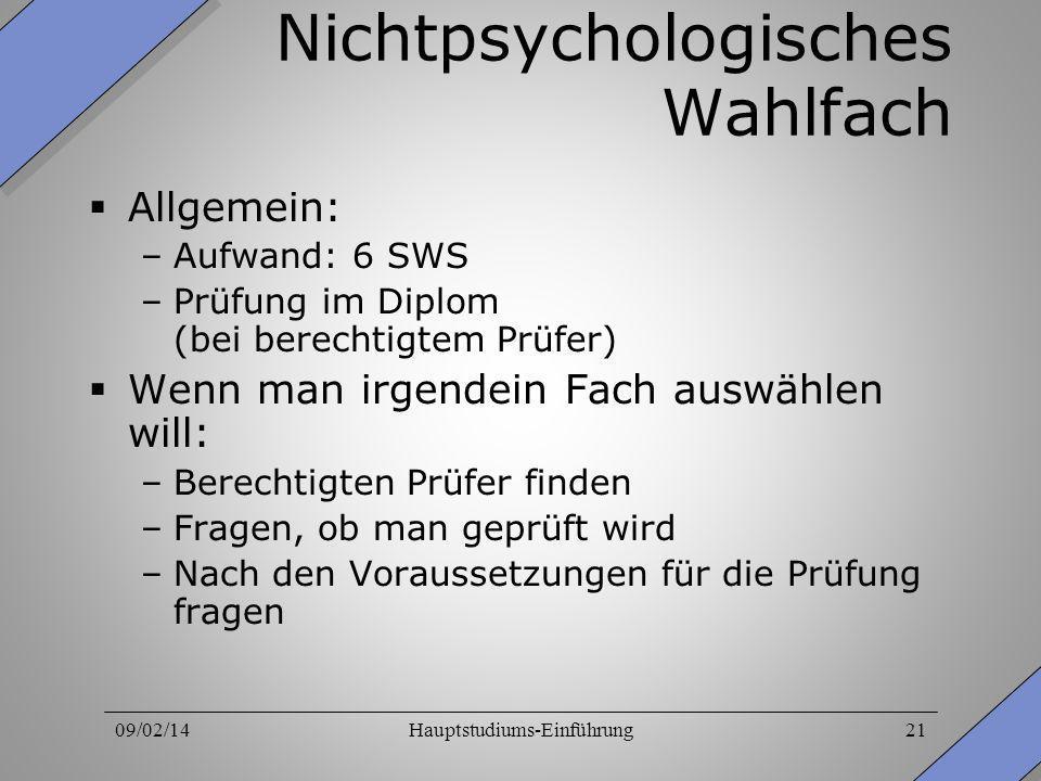 Nichtpsychologisches Wahlfach