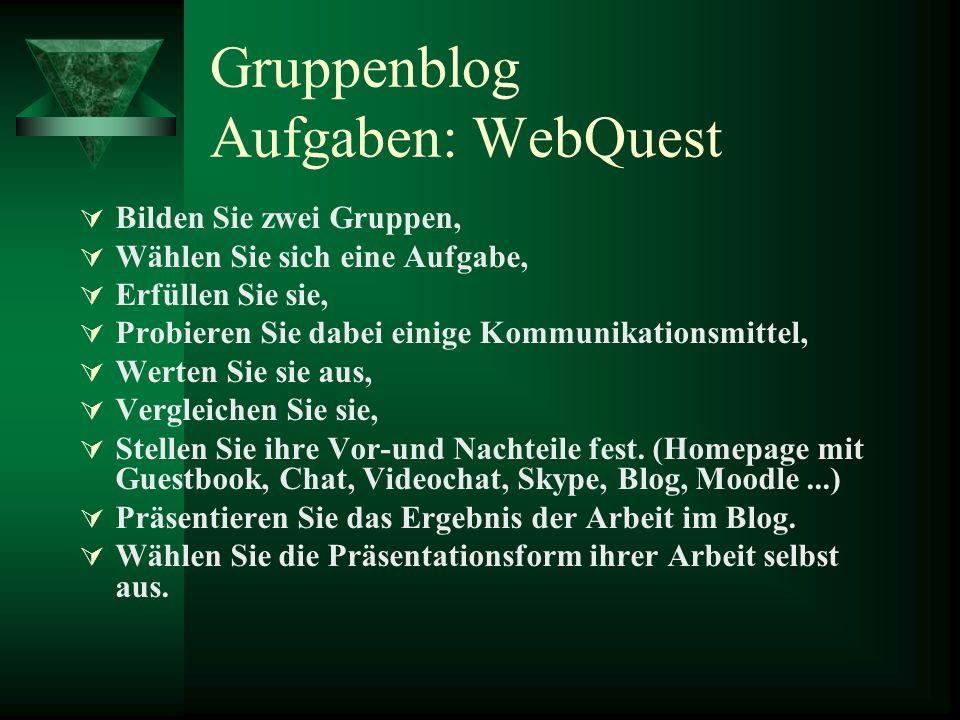 Gruppenblog Aufgaben: WebQuest