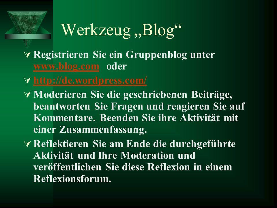 """Werkzeug """"Blog Registrieren Sie ein Gruppenblog unter www.blog.com oder. http://de.wordpress.com/"""