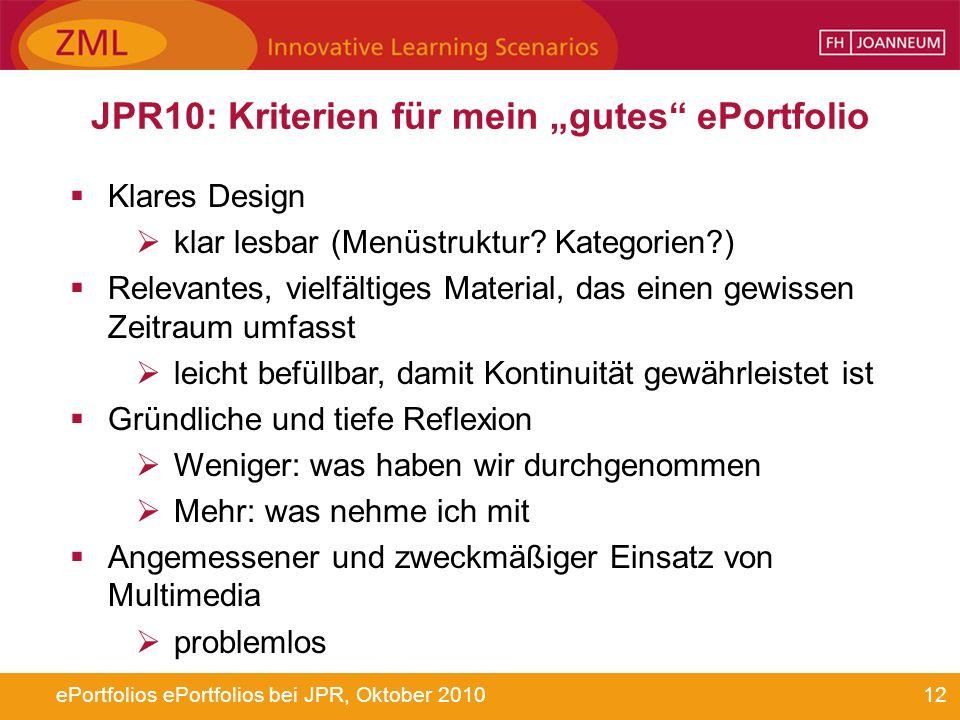 """JPR10: Kriterien für mein """"gutes ePortfolio"""