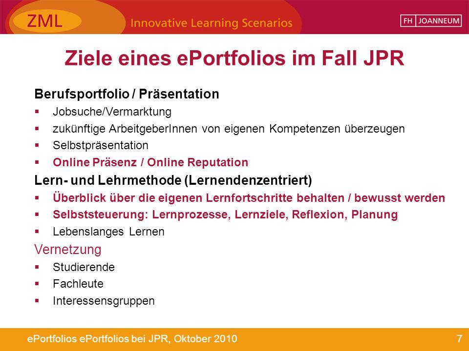 Ziele eines ePortfolios im Fall JPR