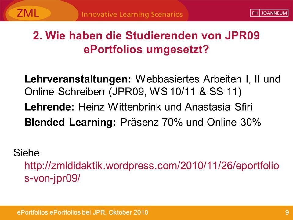 2. Wie haben die Studierenden von JPR09 ePortfolios umgesetzt