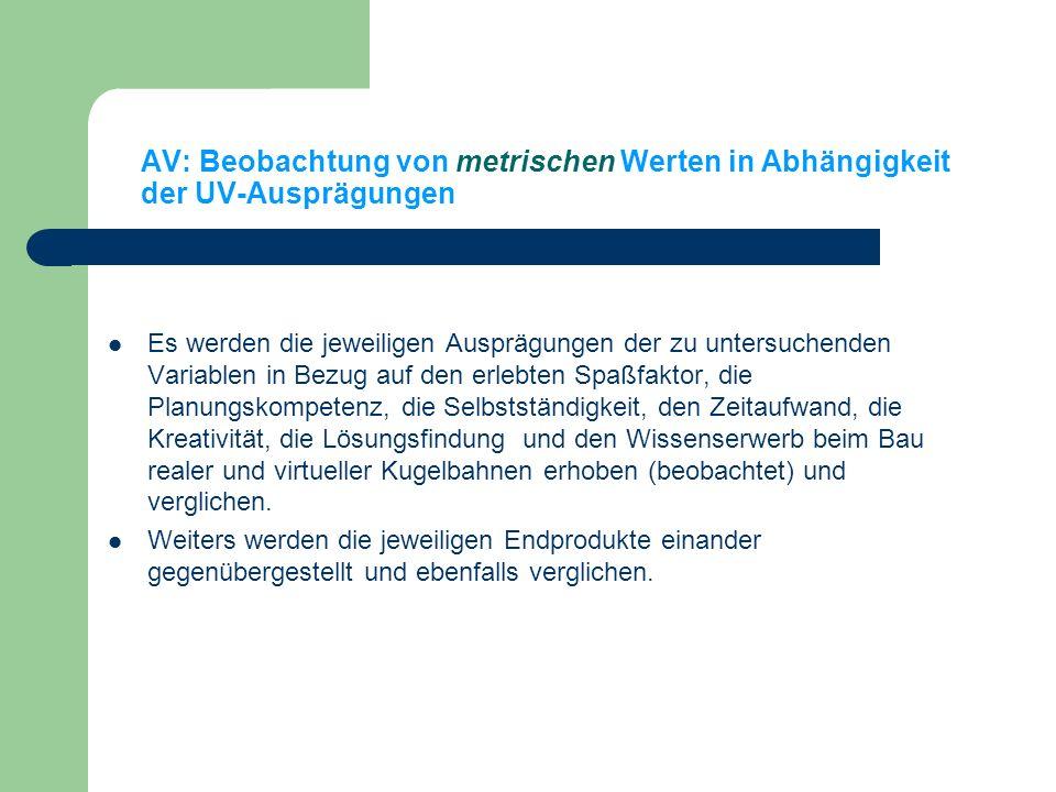 AV: Beobachtung von metrischen Werten in Abhängigkeit der UV-Ausprägungen