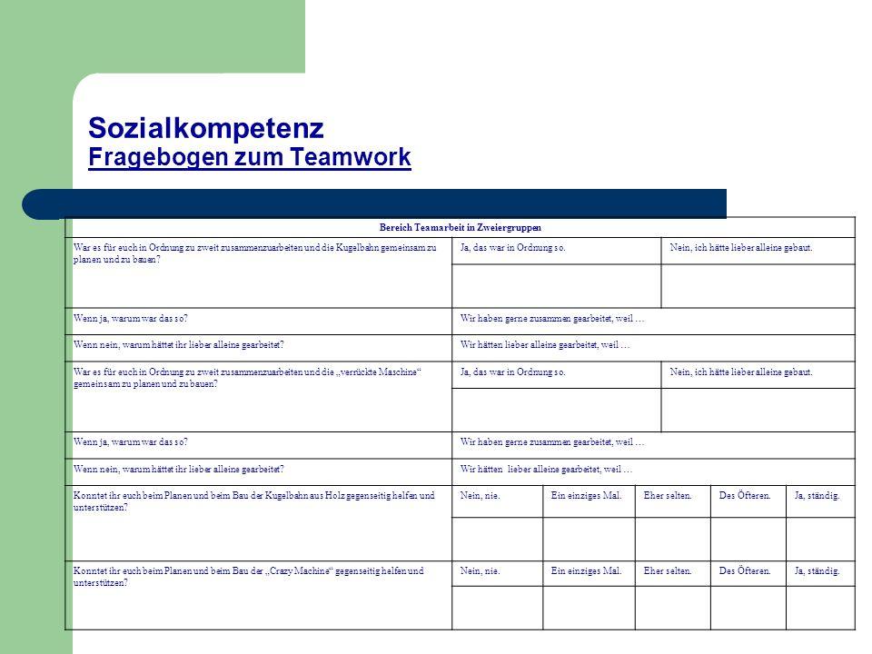 Sozialkompetenz Fragebogen zum Teamwork