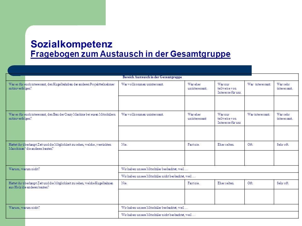 Sozialkompetenz Fragebogen zum Austausch in der Gesamtgruppe