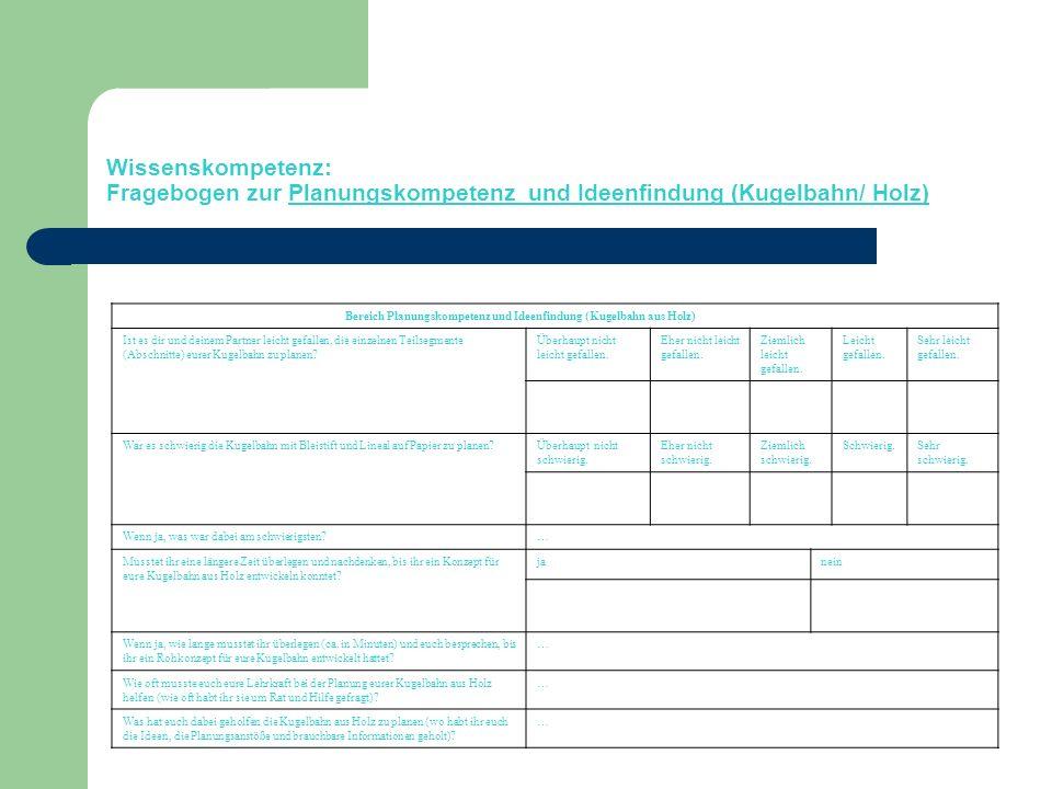 Bereich Planungskompetenz und Ideenfindung (Kugelbahn aus Holz)
