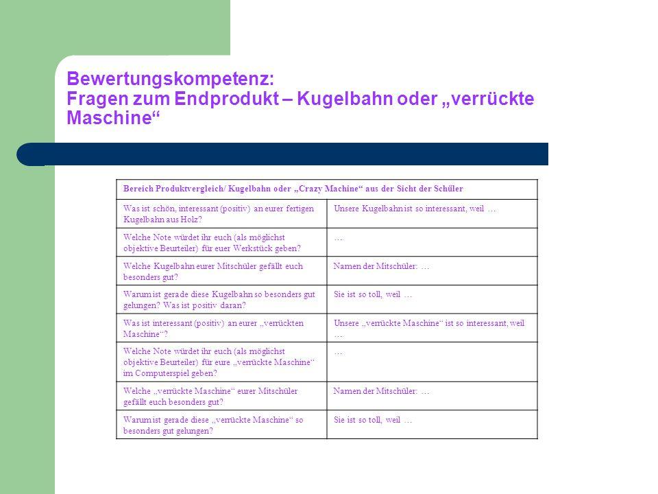 """Bewertungskompetenz: Fragen zum Endprodukt – Kugelbahn oder """"verrückte Maschine"""