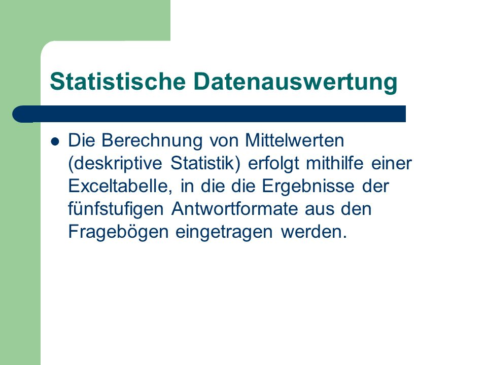Statistische Datenauswertung