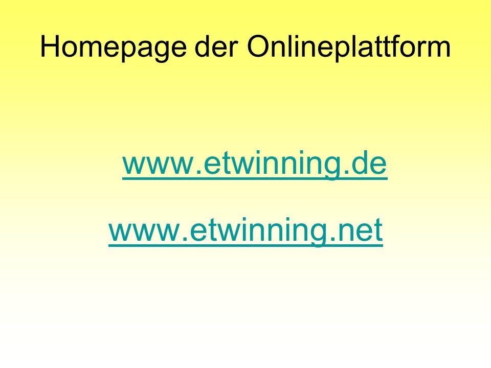 Homepage der Onlineplattform
