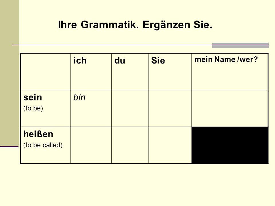 Ihre Grammatik. Ergänzen Sie.