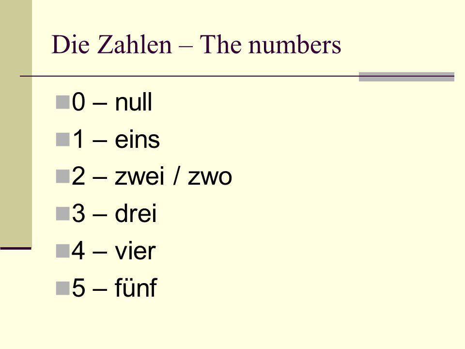 Die Zahlen – The numbers