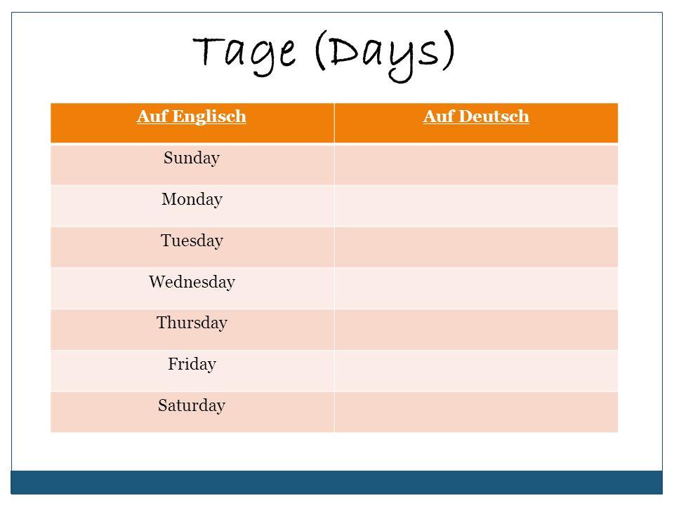 Tage (Days) Auf Englisch Auf Deutsch Sunday Monday Tuesday Wednesday