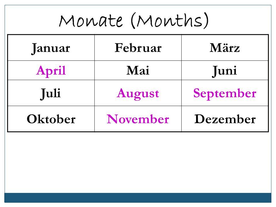 Monate (Months) Januar Februar März April Mai Juni Juli August