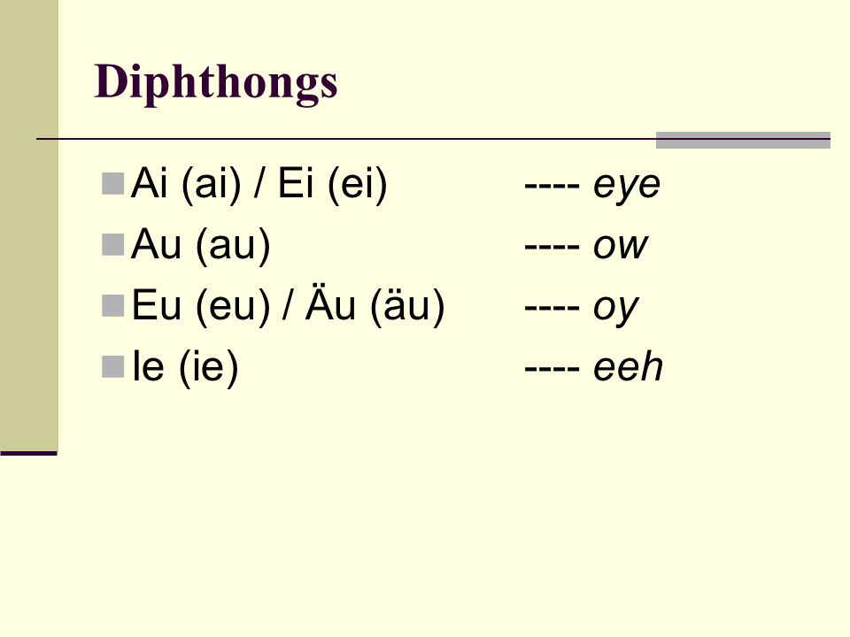 Diphthongs Ai (ai) / Ei (ei) ---- eye Au (au) ---- ow