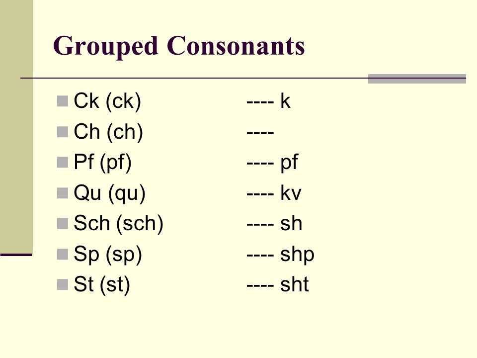 Grouped Consonants Ck (ck) ---- k Ch (ch) ---- Pf (pf) ---- pf