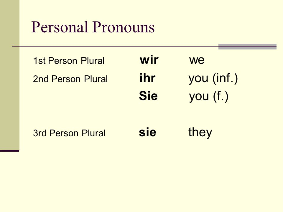 Personal Pronouns Sie you (f.) 1st Person Plural wir we