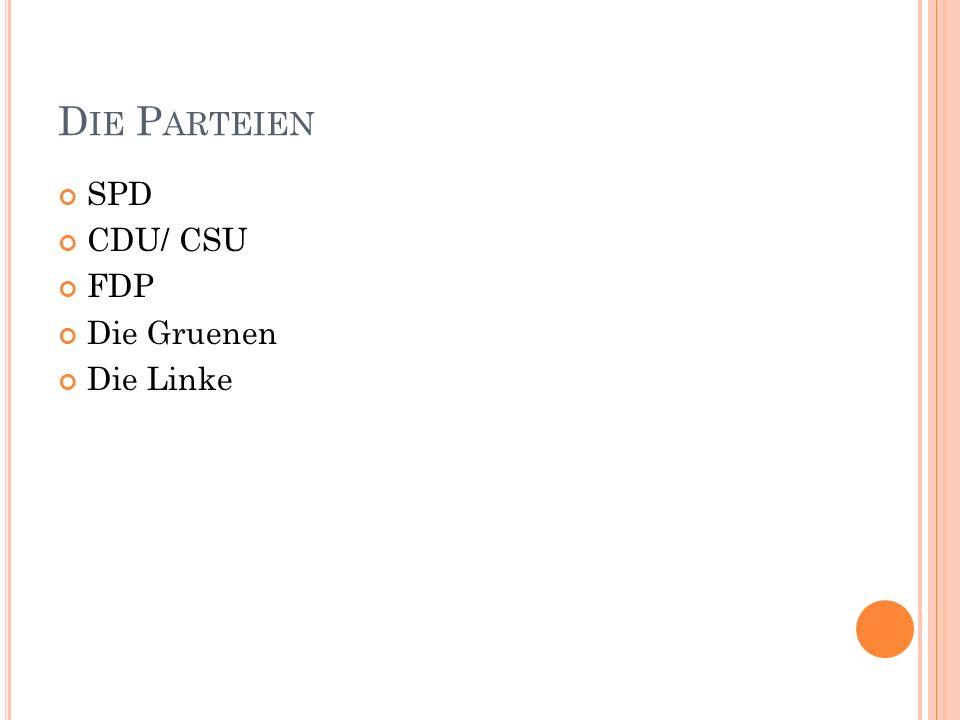 Die Parteien SPD CDU/ CSU FDP Die Gruenen Die Linke