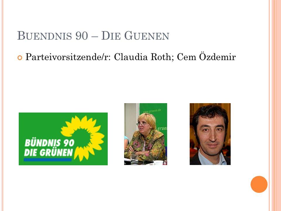 Buendnis 90 – Die Guenen Parteivorsitzende/r: Claudia Roth; Cem Özdemir