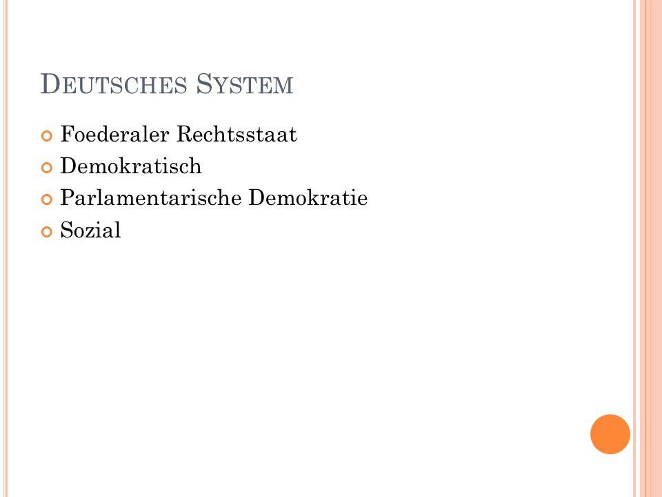 Deutsches System Foederaler Rechtsstaat Demokratisch