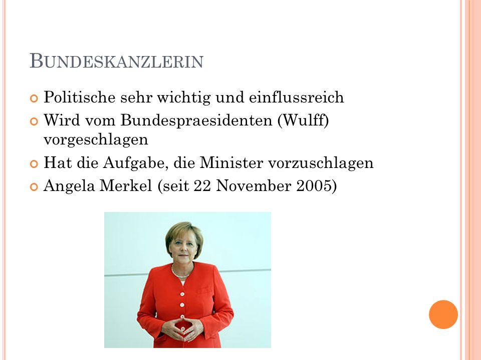 Bundeskanzlerin Politische sehr wichtig und einflussreich