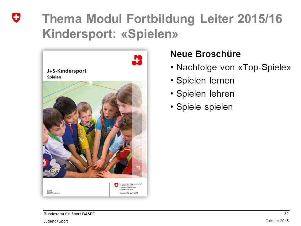 Thema Modul Fortbildung Leiter 2015/16 Kindersport: «Spielen»