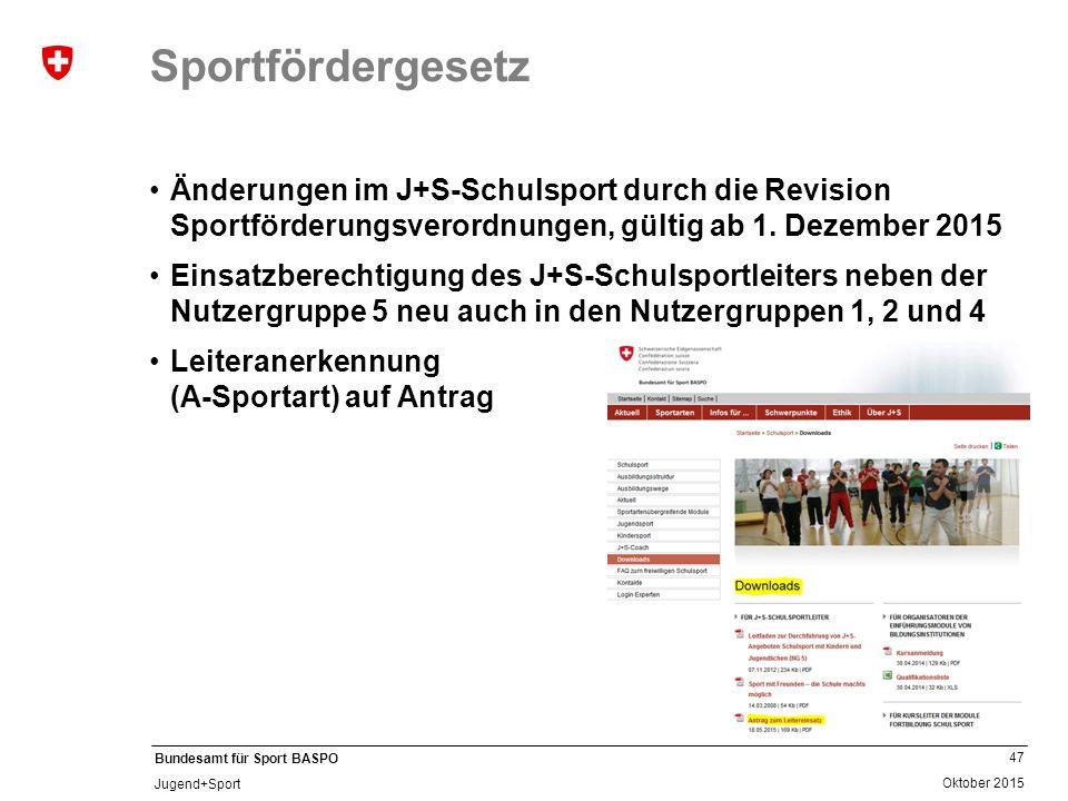 Sportfördergesetz Änderungen im J+S-Schulsport durch die Revision Sportförderungsverordnungen, gültig ab 1. Dezember 2015.