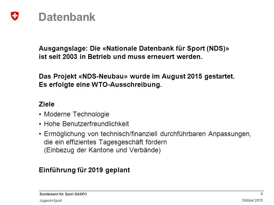 Datenbank Ausgangslage: Die «Nationale Datenbank für Sport (NDS)» ist seit 2003 in Betrieb und muss erneuert werden.