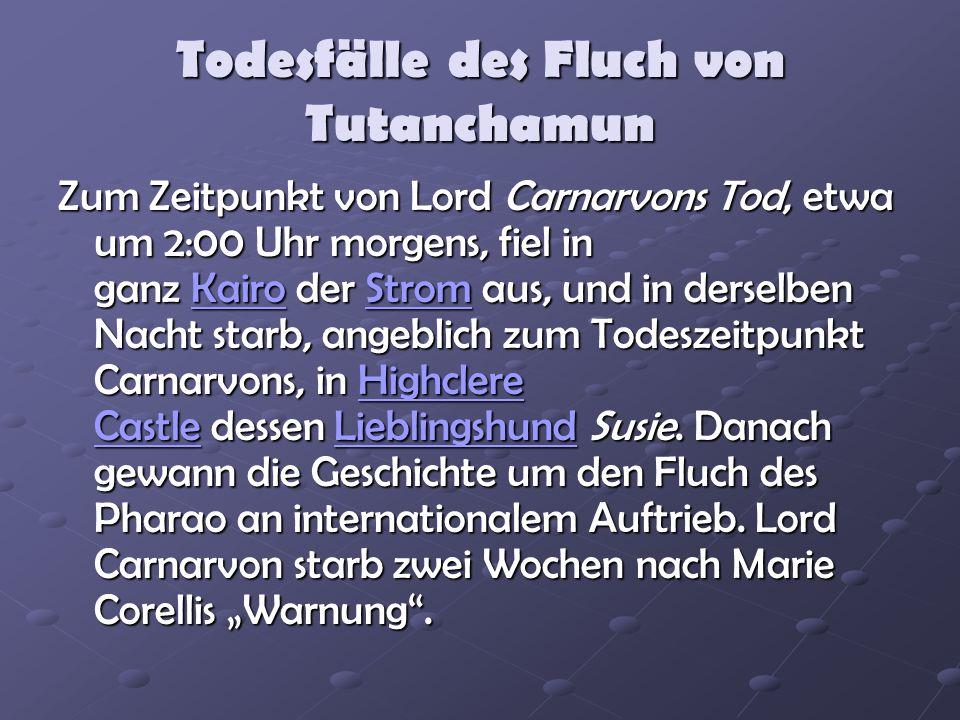 Todesfälle des Fluch von Tutanchamun