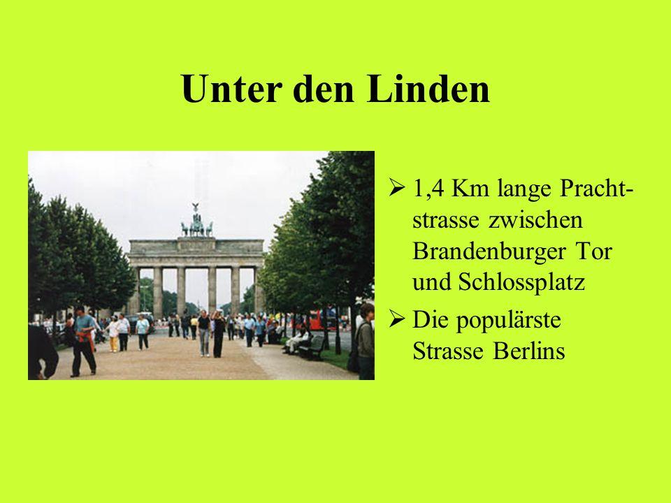 Unter den Linden 1,4 Km lange Pracht-strasse zwischen Brandenburger Tor und Schlossplatz.