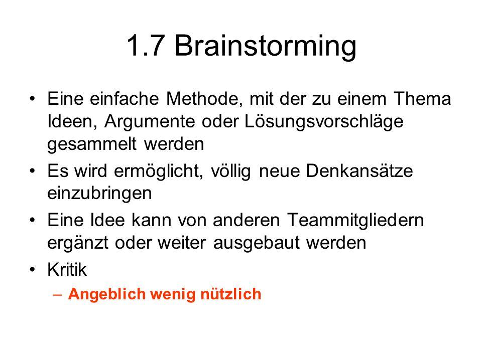 1.7 Brainstorming Eine einfache Methode, mit der zu einem Thema Ideen, Argumente oder Lösungsvorschläge gesammelt werden.