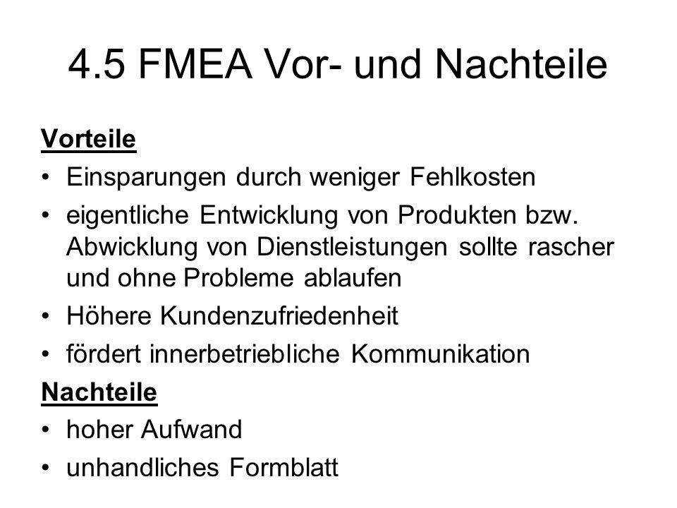4.5 FMEA Vor- und Nachteile