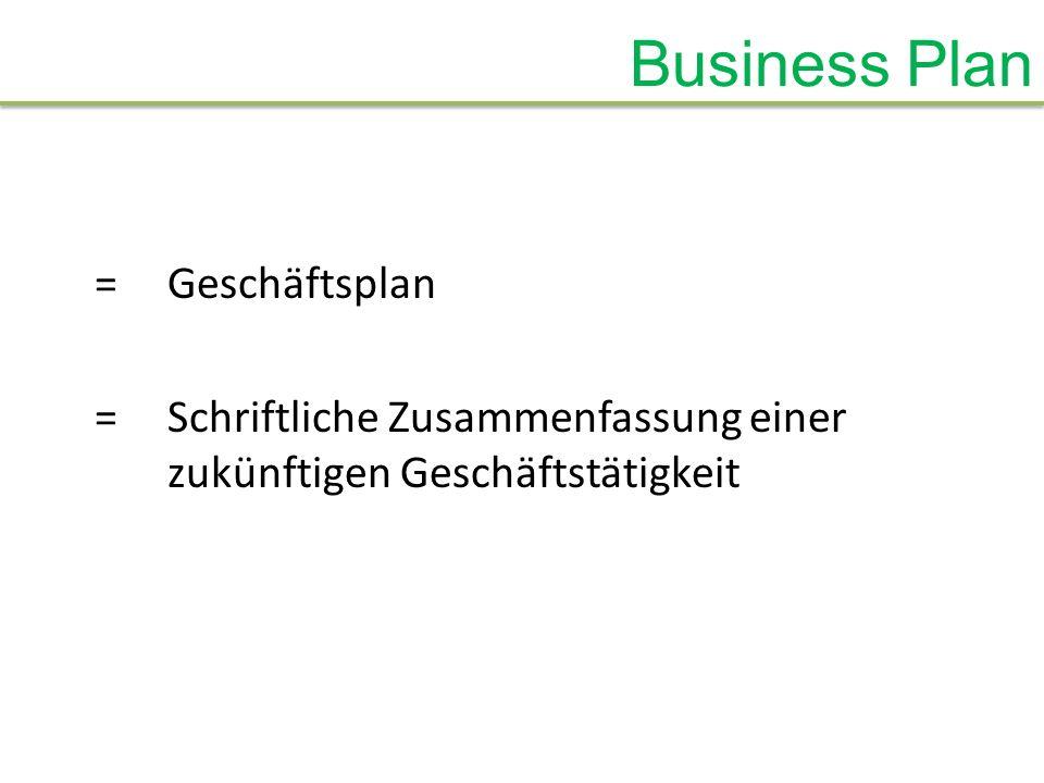 Business Plan = Geschäftsplan