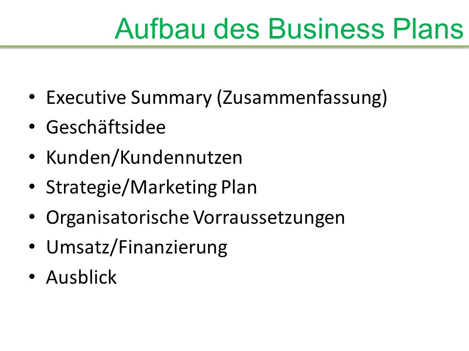Aufbau des Business Plans