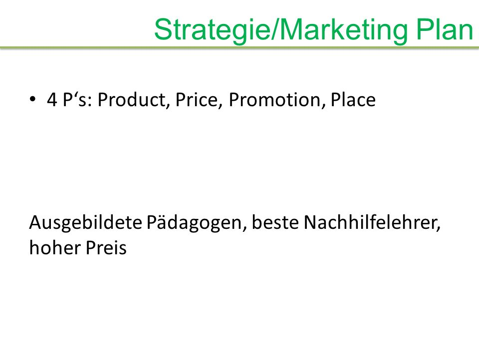 Strategie/Marketing Plan