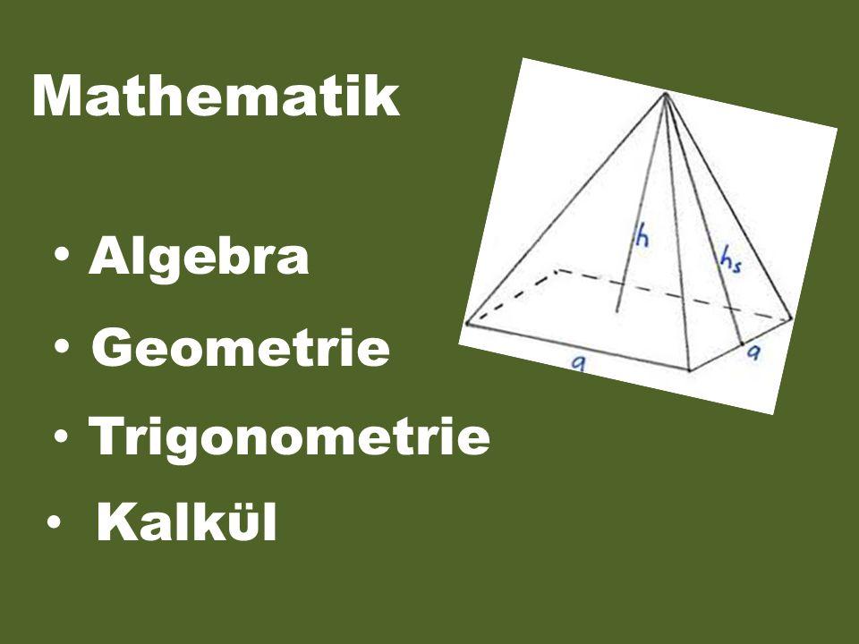Mathematik Algebra Geometrie Trigonometrie Kalkϋl