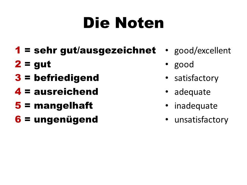Die Noten 1 = sehr gut/ausgezeichnet 2 = gut 3 = befriedigend 4 = ausreichend 5 = mangelhaft 6 = ungenügend