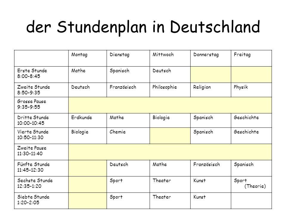der Stundenplan in Deutschland