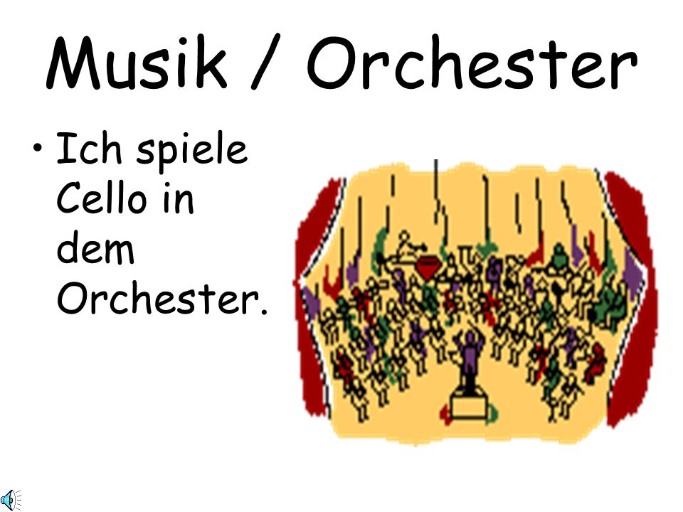 Musik / Orchester Ich spiele Cello in dem Orchester.