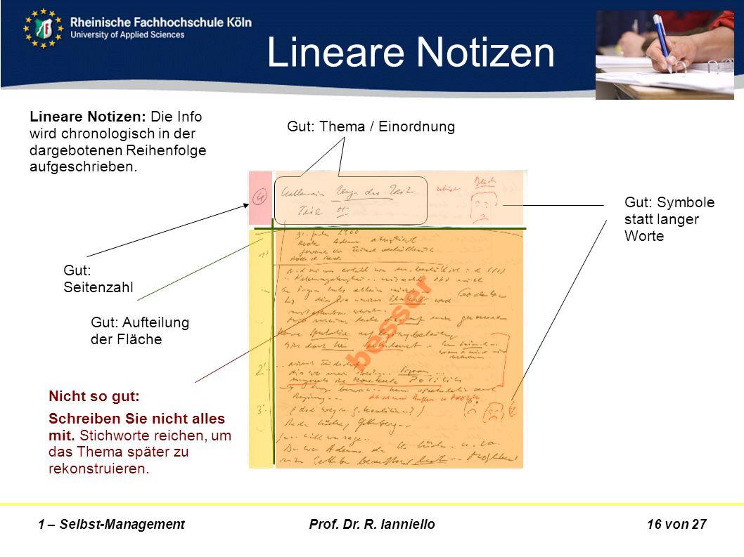 Lineare Notizen Lineare Notizen: Die Info wird chronologisch in der dargebotenen Reihenfolge aufgeschrieben.