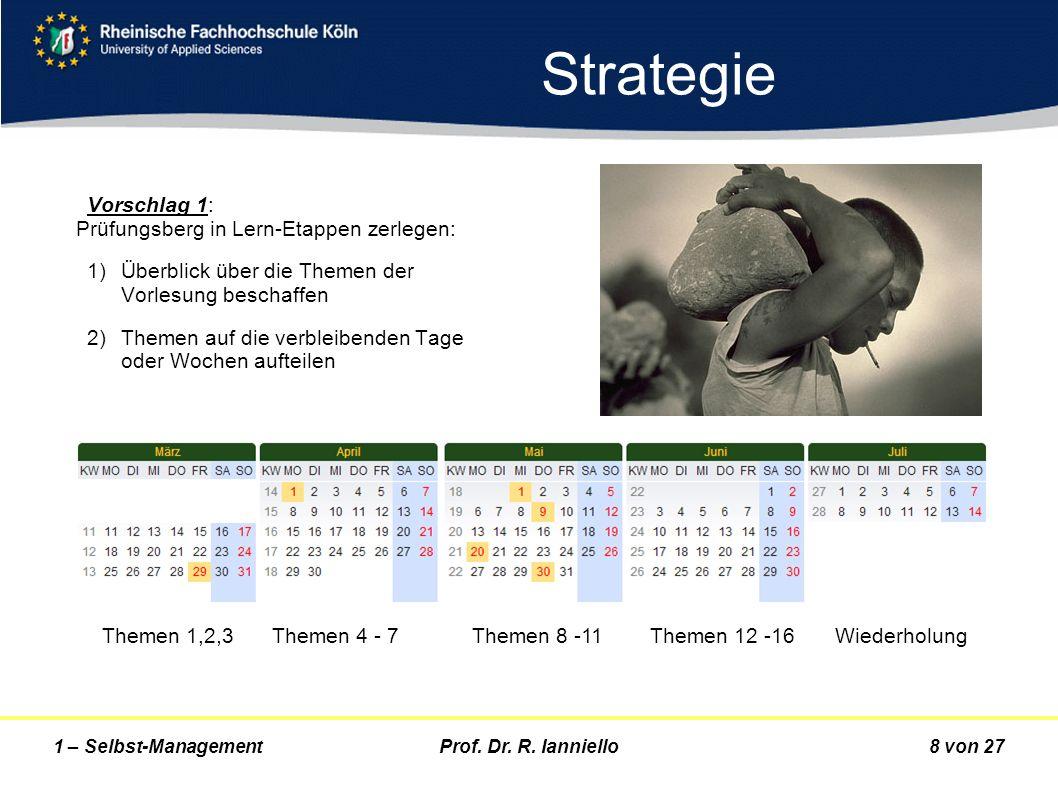 Strategie Vorschlag 1: Prüfungsberg in Lern-Etappen zerlegen: