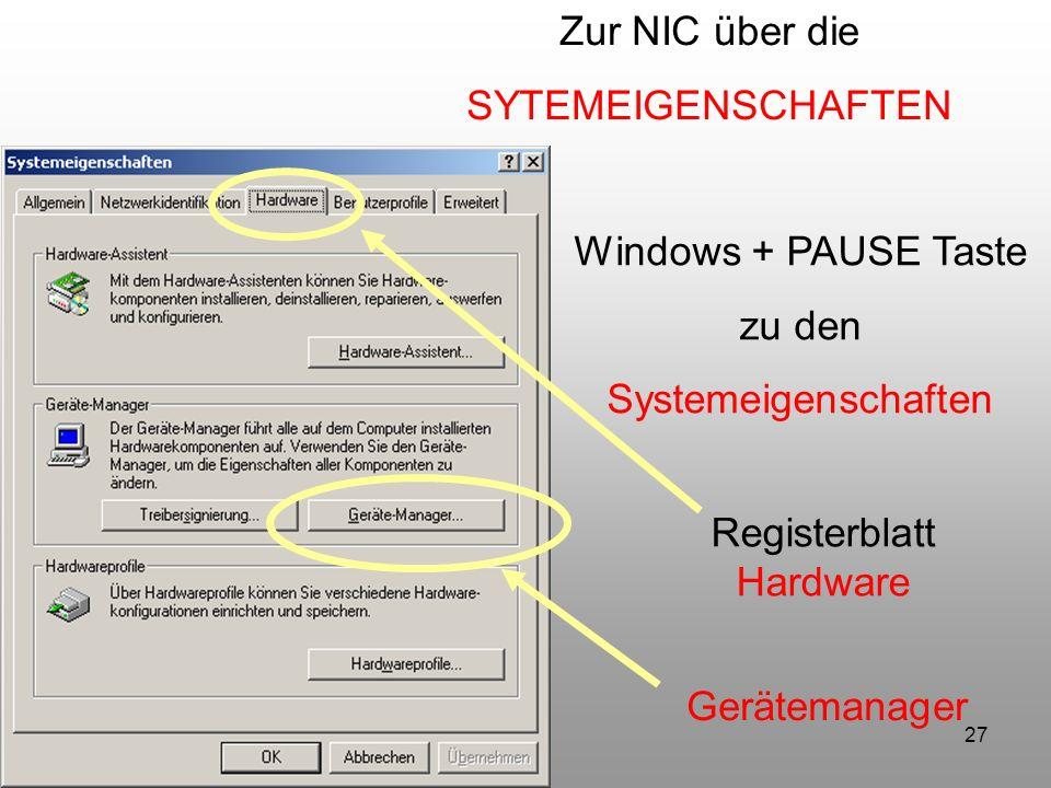 Zur NIC über die SYTEMEIGENSCHAFTEN. Windows + PAUSE Taste. zu den. Systemeigenschaften. Registerblatt.
