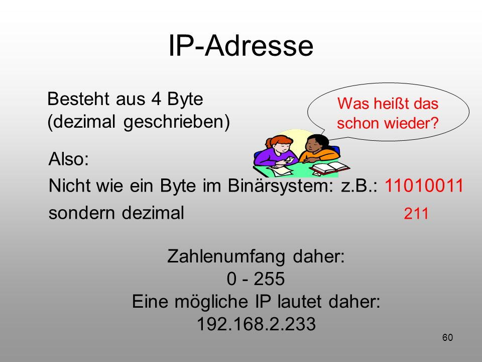 IP-Adresse Besteht aus 4 Byte (dezimal geschrieben) Also: