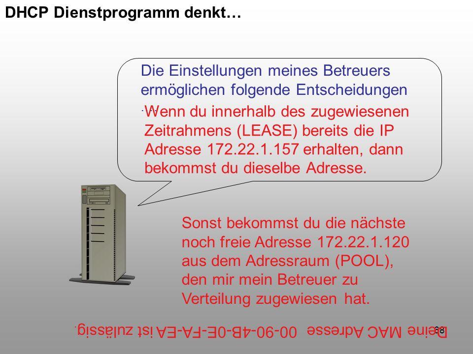 DHCP Dienstprogramm denkt…