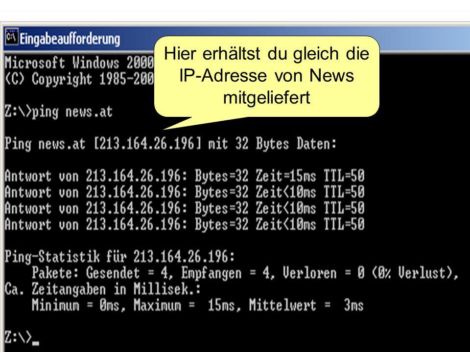 Hier erhältst du gleich die IP-Adresse von News mitgeliefert