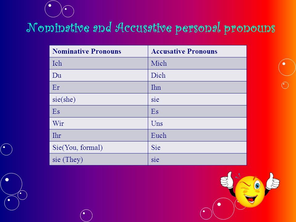 Nominative and Accusative personal pronouns