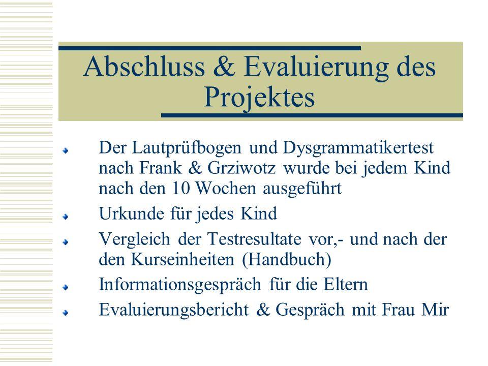 Abschluss & Evaluierung des Projektes